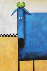 Obraz olejny ręcznie malowany - Niebieski pies - obrazy olejne