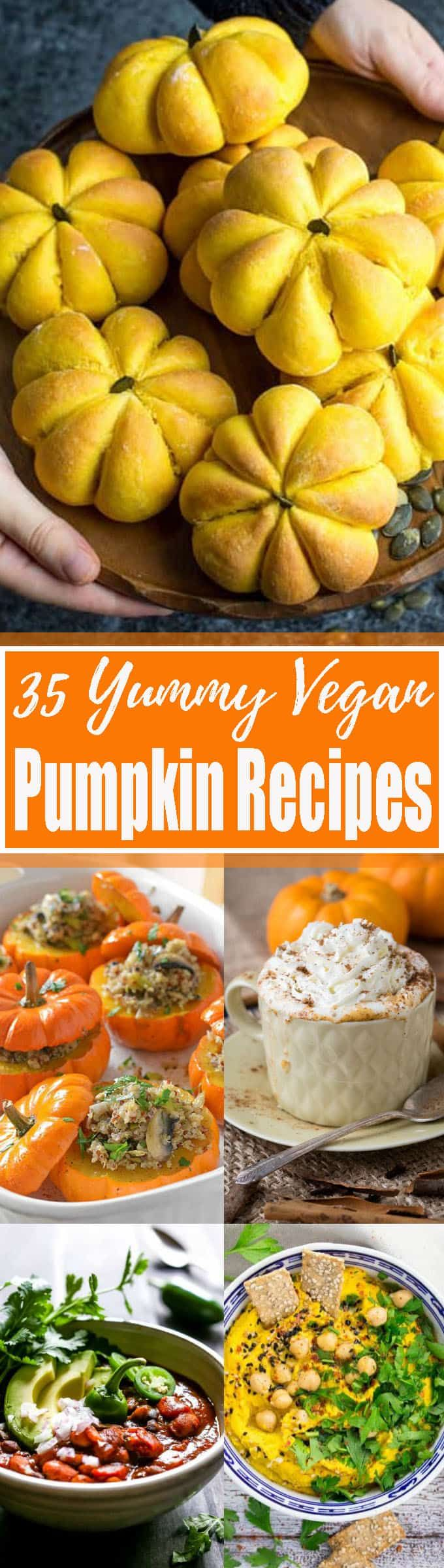 35 Stunning Vegan Pumpkin Recipes You Need To Try This Fall!! Yaay! Pumpkin season is finally here! I'm a real pumpkin addict, so I just had to put together a massive roundup of delicious vegan pumpkin recipes. It includes savory vegan recipes as well as vegan dessert recipes. <3   veganheaven.org