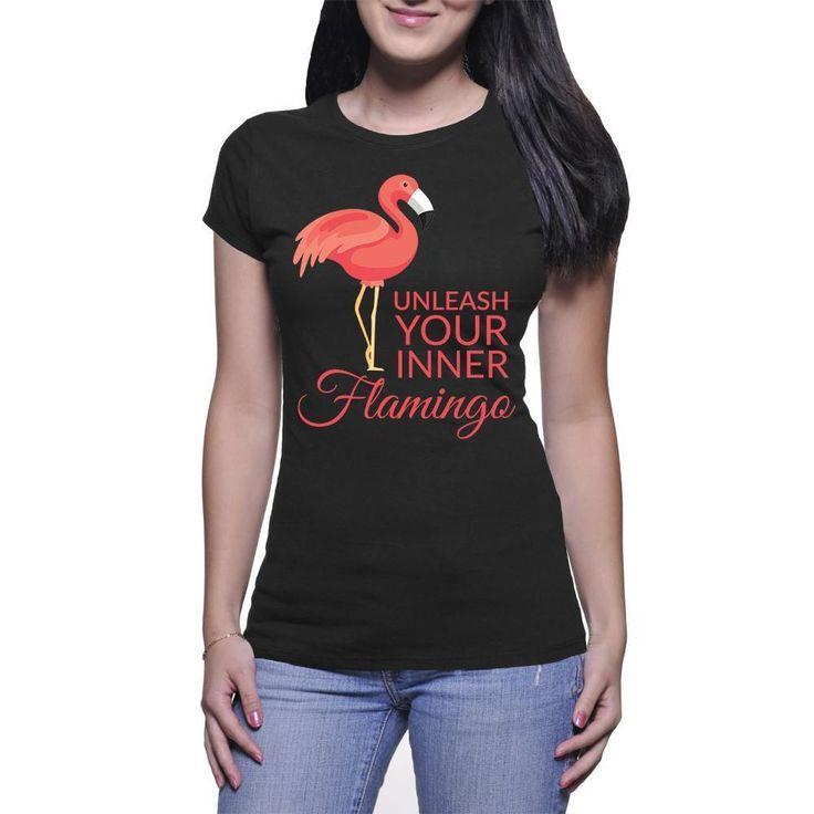 Women's Fine Jersey Short Sleeve Unleash Your Inner Flamingo T-Shirt