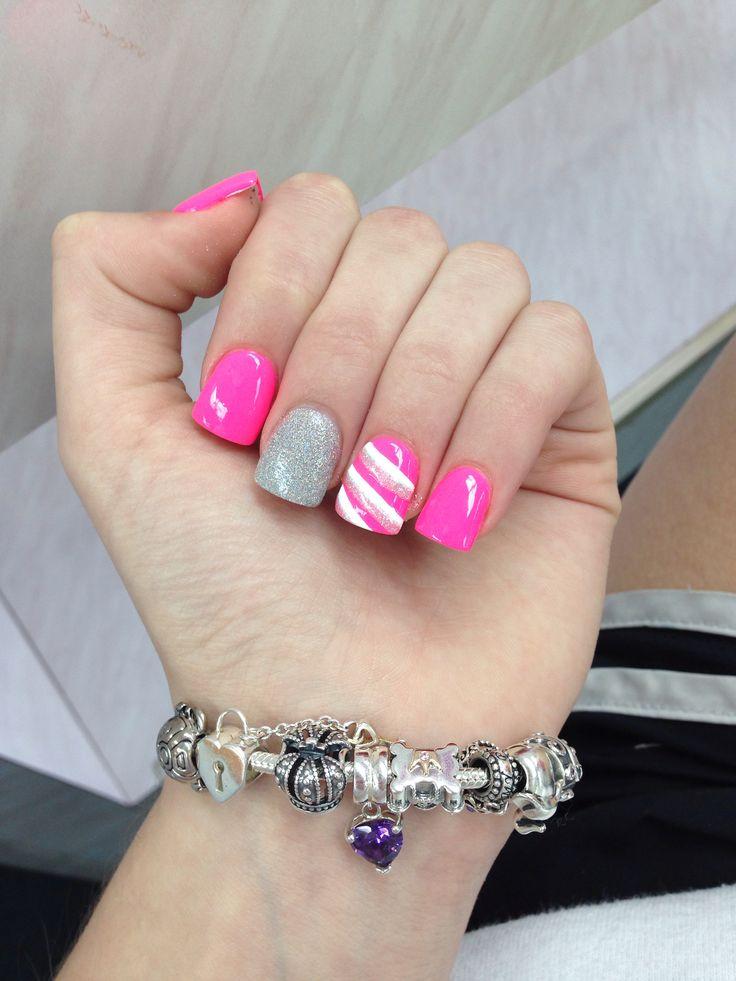 silver and pink acrylic nail design