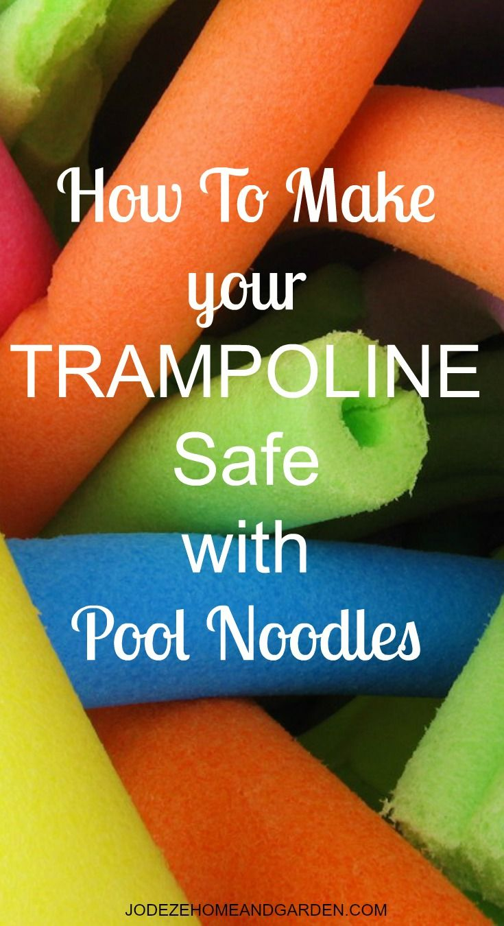 How to make your trampoline safe with some pool noodles. They add padding to your springs, kids think it's fun, and they help protect the springs from the elements as well.