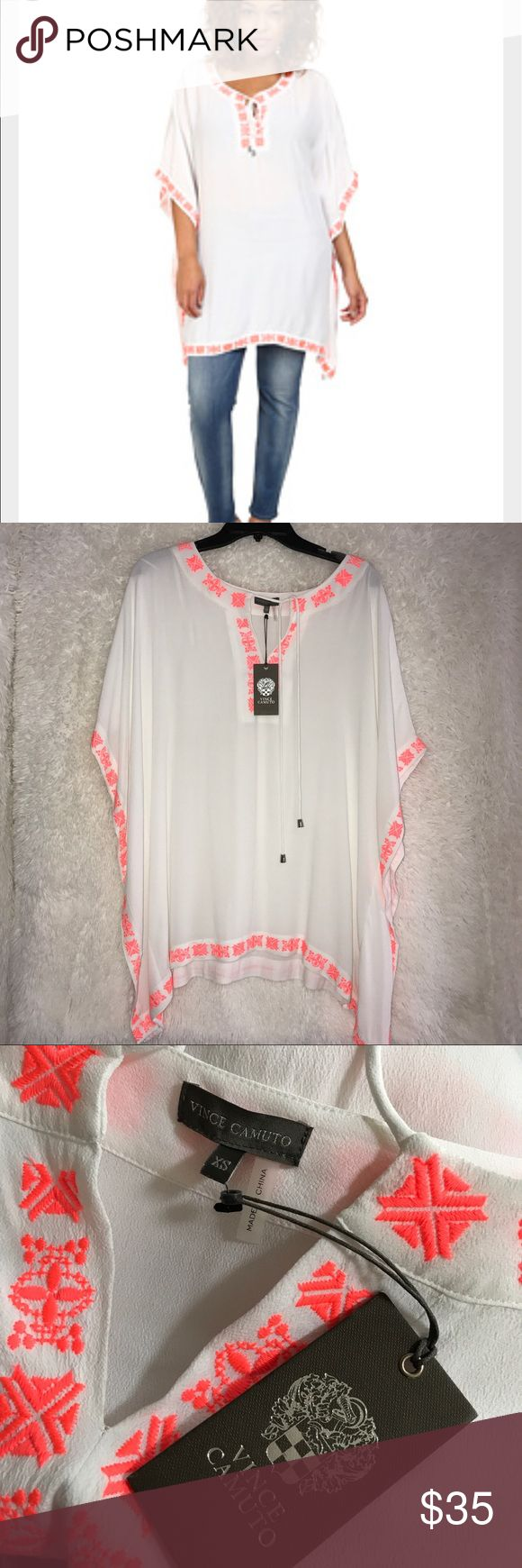 Vince Camuto Woman Top poncho Ultra White Vince Camuto Tropical Rain Front Lace Poncho Embroidery Womens Clothing, You may dazzle and wow in this stunning Vince Camuto poncho. Top flaunts a soft bamboo fabrication. Delicate sewed trim enhances your thing to chic sophistication. Split neckline with drawstring tie. Billowing three quarter sleeves. Handkerchief hemline. 100 percent rayon. Machine scrub cold, line dried up. Imported….  This top new with tags  Size: XS  Thank you for shopping 🛒…