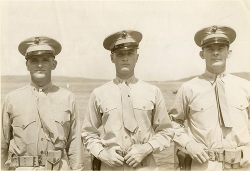 The Marine officers of the U.S.S. Pennsylvania. 1943. Left to right: Lt. Elliot, Capt. Jeff Cooper and Lt. McLennan.
