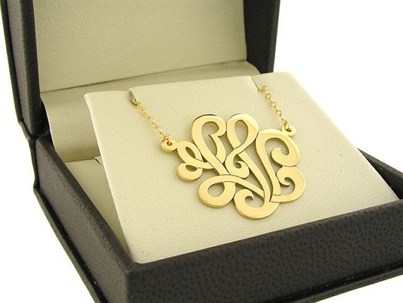 Monogram necklace,1 nch, Personalized Monogram, 925 Sterling silver,Handcrafted, Custom made monogram,16 to 20 Chain included, Gold Plated