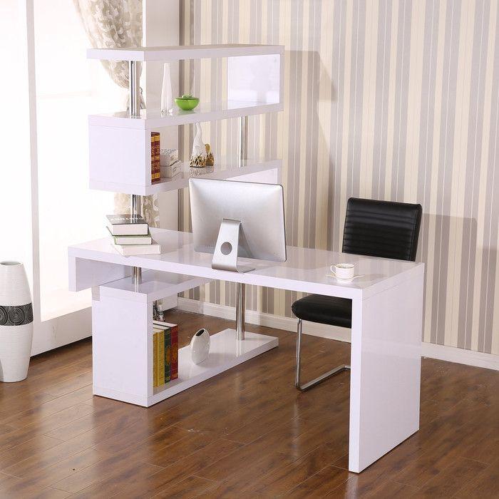 HomCom Foldable Rotating Corner Desk & Reviews | Wayfair