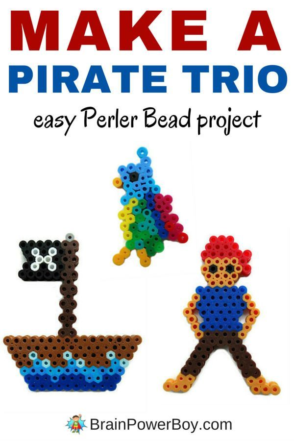 Hey pirate fans! Here is a fun pirate Perler Bead pattern for a pirate trio. A parrot, a ship and a pirate. All are easy to make and there are instructions included. These are great for Talk Like a Pirate Day or any day!