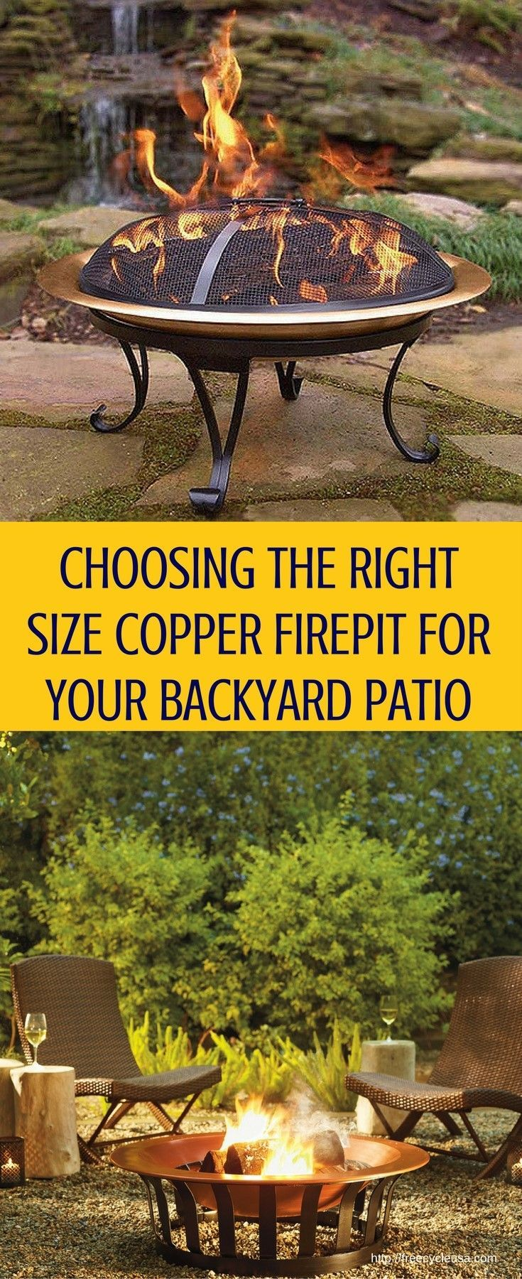 Choosing the Right Size Copper Fire Pit For Your Backyard Patio - http://www.freecycleusa.com/choosing-right-size-copper-fire-pit-backyard-patio/