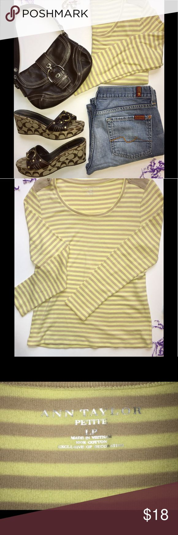 🤑Ann Taylor Lemon & Beige Tee Sz LP Beautiful and comfy soft Ann Taylor lemon yellow and beige striped tee with shoulder epaulette detailing! Love this with denim - blue or white! Petite Large Ann Taylor Tops
