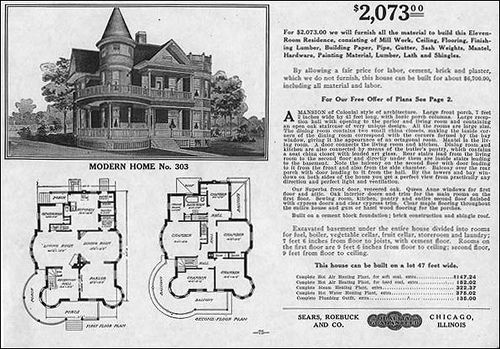 1909 sears queen anne modern home 303 house plans for Queen anne house plans historic