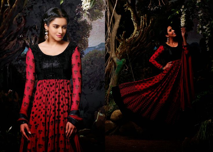 Elegant and Graceful Printed Georgette Party Wear Anarkali Suit in Black & Red Combination. Comes along with Santoon bottom and matching chiffon dupatta.