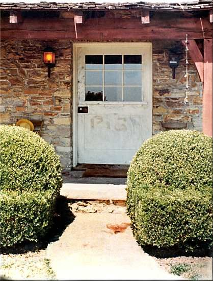 """PIG"" written In Sharon Tate's blood on the front door of her home, 10050 Cielo Drive."