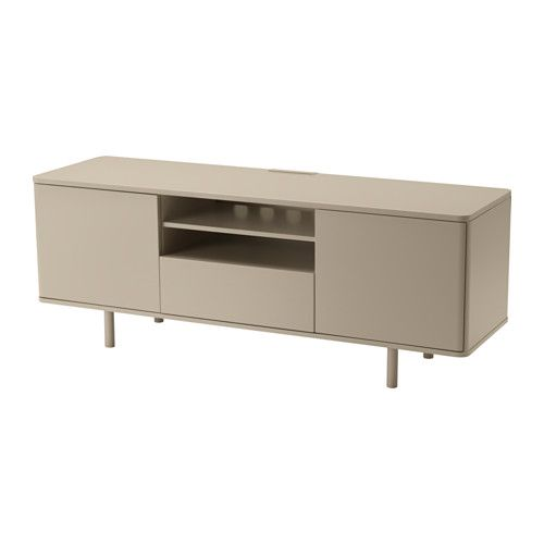 IKEA - MOSTORP, TV unit, beige, , The large drawer makes it easy to keep remote controls, game controls, and other TV accessories organized.Cable outlets make it easy to lead cables and cords out the back so they're hidden from view but close at hand when you need them.Behind the doors there's plenty of extra storage space to help keep your living room organized.