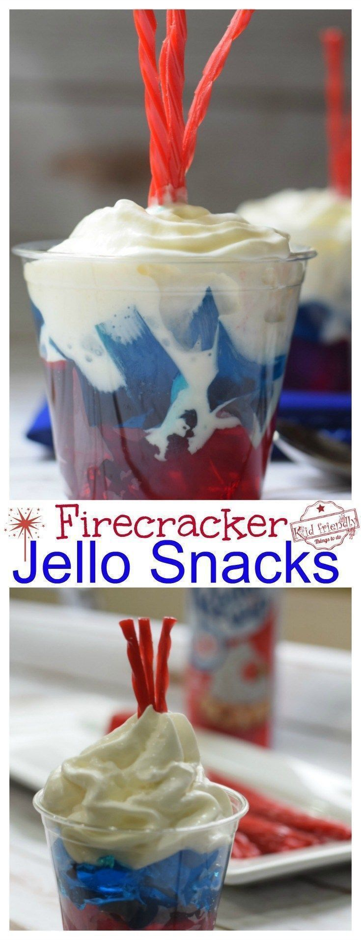Firecracker Jello Snack dessert. Easy and patriotic fun food treats! http://www.kidfriendlythingstodo.com Memorial Day, Labor Day, Fourth of July