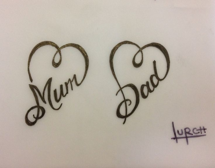 small feminine tattoo design mum dad heart forever love parents tat - Small Designs