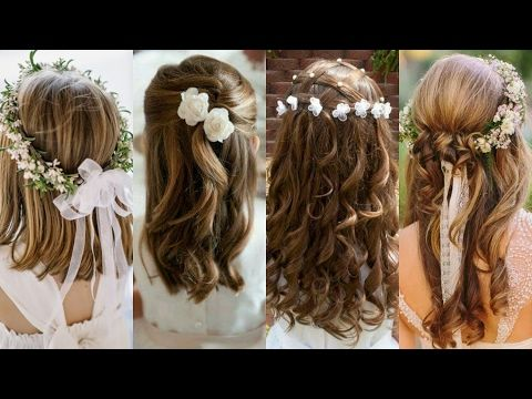First Communion Hairstyle 1/3 / Upside Down Pigtails Headband / Bonita Hair Do - YouTube