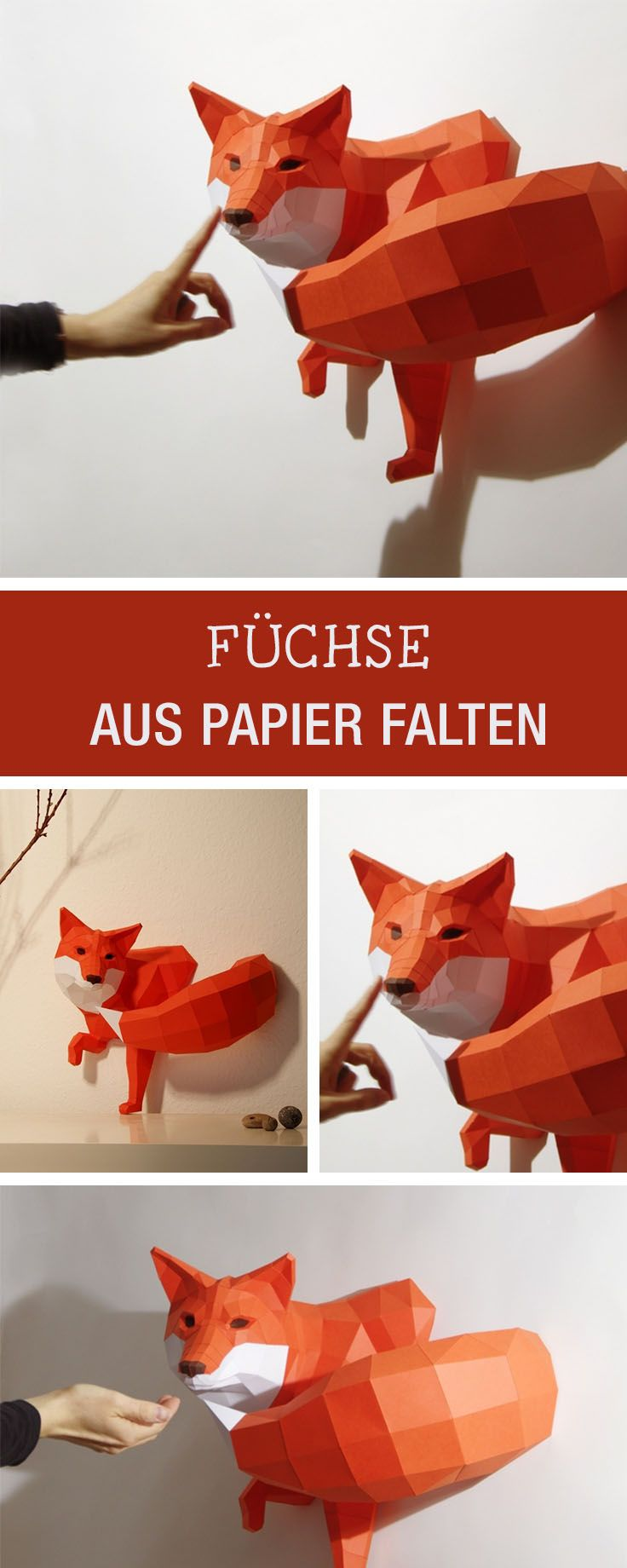 DIY für einen Origami-Fuchs als originelle Wohndeko / craft an origami fox made of paper, home decor via DaWanda.com