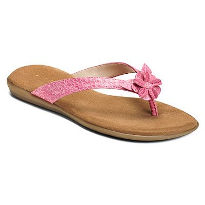Aerosoles Flip Flop in Pink Snake. This Faux-leather flip flop features a textured thong strap with applique flower at toe post.  These flip flips have a double-padded memory foam insole and sueded sock insole to pamper your feet.