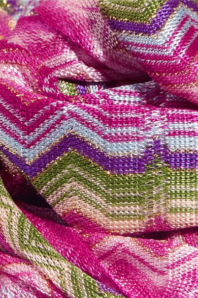 Missoni - Metallic Crochet-knit Scarf - Pink - one size