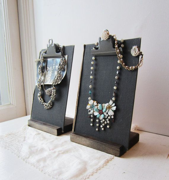 Two Black Clipboard Book Jewelry Displays by TheeLetterQHandmade