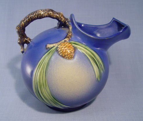 Roseville Pottery Blue Pinecone Ball Pitcher