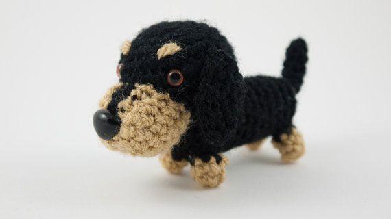 Dachshund sausage dog puppy crochet amigurumi plush toy by Chikai