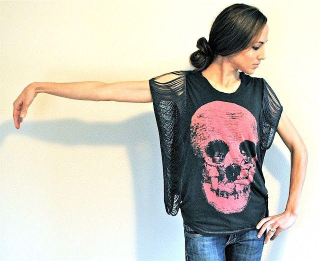 DIY Fringe T-shirt: Diy Fashion, Trashtocouture, T Shirt, Fringe Sleeve Seam, Trash To Couture, Diy Clothing, Diy Clothes, Tshirt