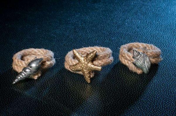 Δακτυλίδια για πετσέτες απο σχοινί γιούτα  με μπρούντζινα και αλουμινίου καλοκαιρινά - θαλασσινά στοιχεία.  | myartshop