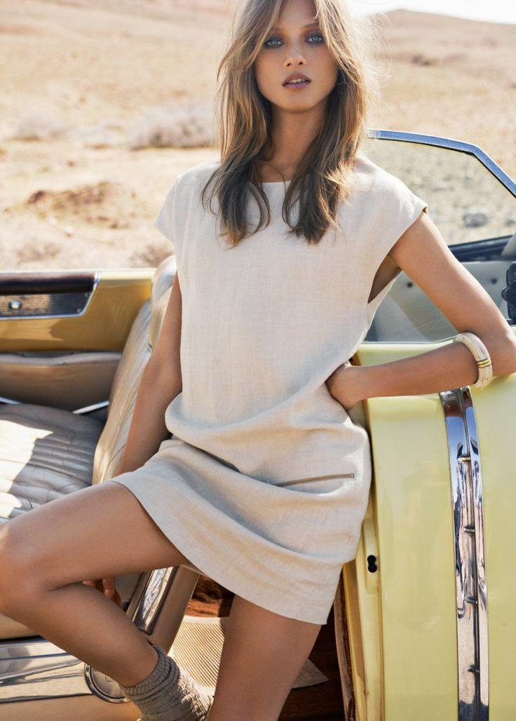 Anna Selezneva | Mango Summer 2012 neutral sheath style dress  #minimalist #fashion #style