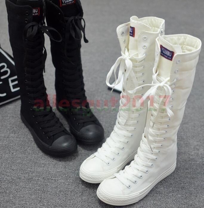 NEU 2017 Damen Schuhe High Top Stiefel Punk Rock sneakers Schwarz Weiß Stiefel  in Kleidung & Accessoires, Damenschuhe, Stiefel & Stiefeletten   eBay!