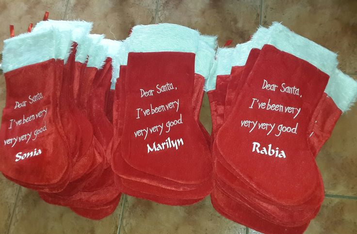 Personalised Christmas stockings. We sell country-wide. Buy on-line on www.multidimension.co.za