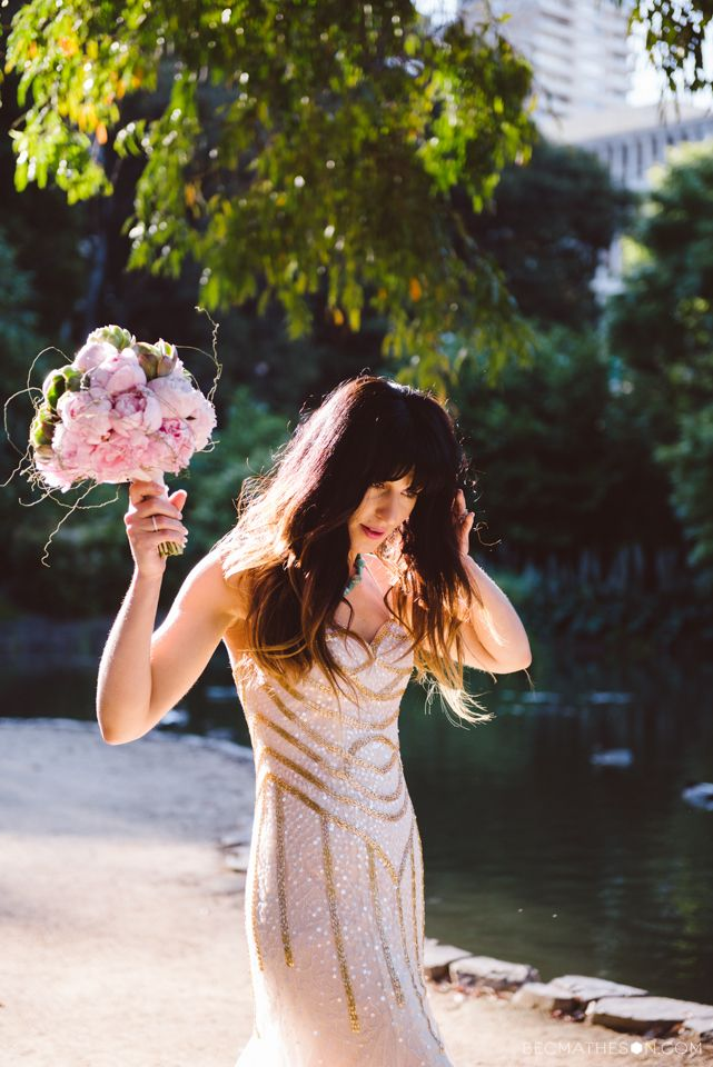 Gold wedding dress, pink peonies, glam bride, modern bride. Melbourne wedding.  Photography by www.becmatheson.com