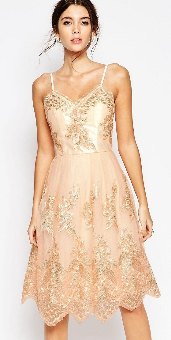 Chi Chi London Premium Metallic Lace Midi Bridesmaid Dress