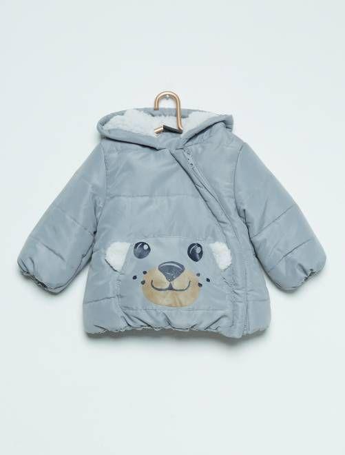 Manteau matelassé imprimé ours                                         gris Bébé fille