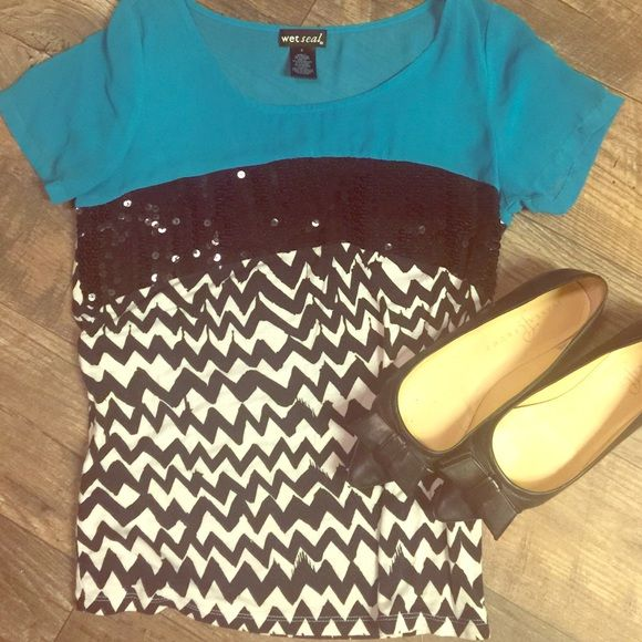 Teal chevron top Like new. Top is a sheer teal middle is a sequin band and bottom is chevron pattern. Wet Seal Tops