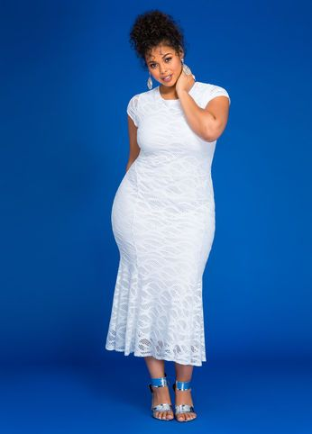 Laced In Style White Dress Outfit by Ashley Stewart