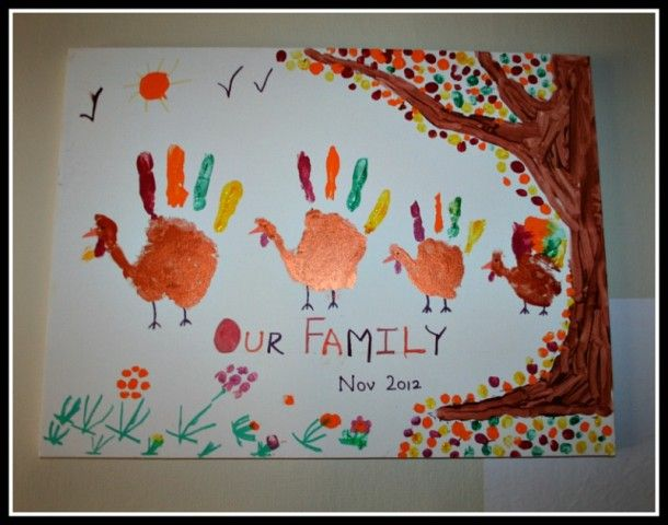 Get the whole family involved: have everyone making a handprint and create a handprint turkey family.