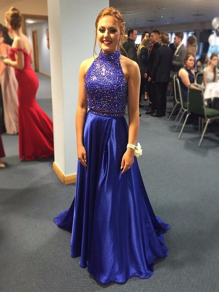 Two Piece Royal Blue Prom Dresses,A-line High Neck Long Formal Dresses,Satin Sweep Train Beading Evening Party Dresses