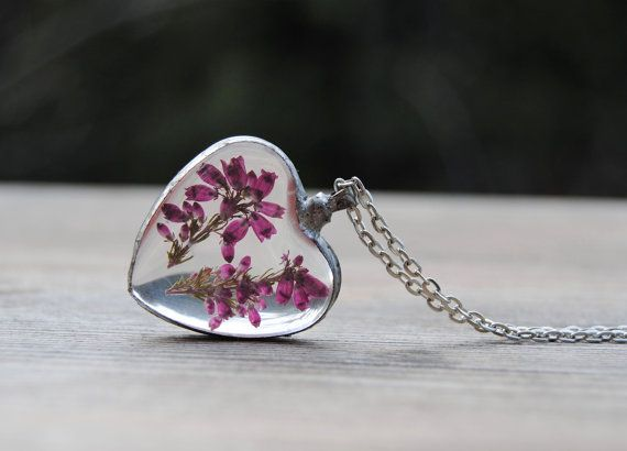 Real flower necklace, terrarium necklace, heart necklace, heather necklace, pressed flower necklace, bridesmaid necklace, rustic wedding by IskraCreations