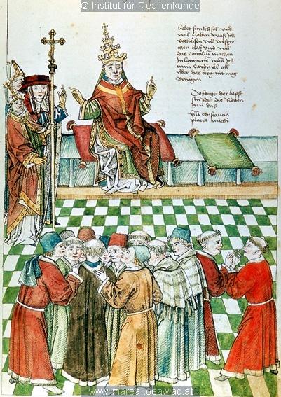 Konzil von Konstanz  Papst hält Rat, Verhandlungen zu Lodi   Dieses Bild: 006698     1465 ; 1475 ; Wien ; Österreich ; Wien ; Österreichische Nationalbibliothek ; cod. 3044 ; fol. 31r