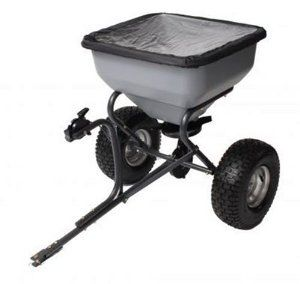 Precision Products TBS6000RDOS 6-Series 130-Pound Tow Behind Broadcast Spreader with Rain Cover by Precision Products. $189.99. Metal gears incased in metal gear box with a grease fitting. 1-Inch powder coated steel tube frame. 15-Inch treaded turf tires. Universal hitch with hitch pin. 130-Pound capacity. Amazon.com                The Precision Products TBS6000RDOS commercial tow-behind broadcast spreader allows for quick and easy spreading while towing behind mo...