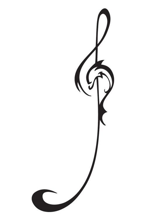 Dolphin Music Symbol Tattoo Design