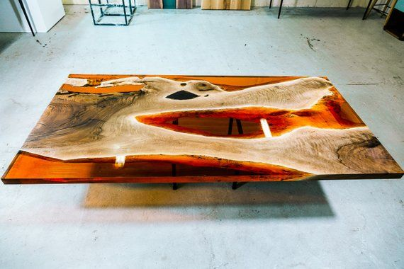 Epoxy Table Dining Table Bright Epoxy Table Live Edge Dining