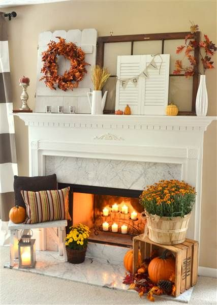 "Bring a touch of fall to your home by decorating your living room mantel with these fun DIY ideas. We've rounded up eight beautiful and easy mantels to give your home an upgrade this Thanksgiving season. 1. ""Give thanks"" mantelThis quick and rewarding holiday craft will bring a touch of glamour to your home. All you need is scissors, a pen, sparkly paper, twine and tape to make this fun banner"