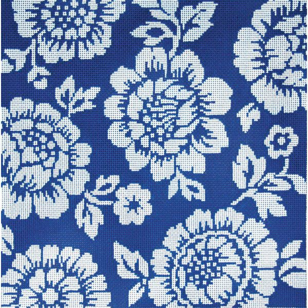 Item# 2237, Two Tone Blue Cabbage Roses Handpainted needlepoint design on 13 mesh cotton canvas.