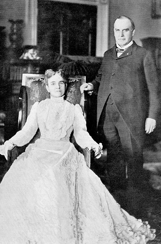 The President and Mrs. Mckinley.  After the shooting of her husband, even though Ida McKinley had epileptic seizures brought on by emotional stress, she Never had a seizure while caring for her dying husband.