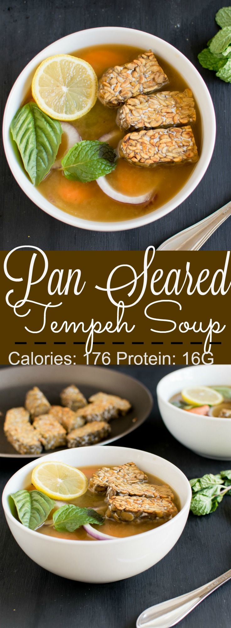 Pan Seared Tempeh Soup - protein rich clear soup, mildly seasoned and super eay to make . Protein: 16 G | kiipfit.com
