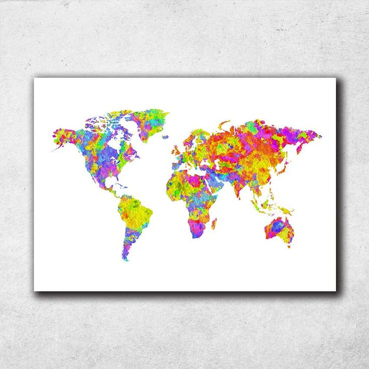 World Map Wall Art Watercolor Print Wall Art Decor Birthday Gift Home Decor World Poster (701) by PointDot on Etsy
