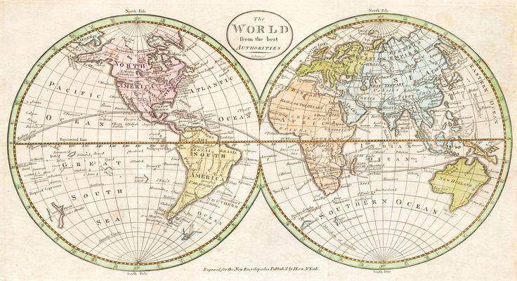 EL MUNDO. Mapa geográfico. 1798.