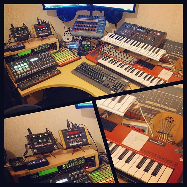 Weeell well... so much gear in there, we can't list it all! But we're happy to see a couple of our little HERO stands, holding those small units. Wanna help spotting #gear? Be our guest :) Find the HERO stand on http://cremacaffedesign.com/hero/  Photo posted by BoBSwanS on #Reddit.  #cremacaffedesign #herostand #musicgear  #tabletop #stand #studiolife #homestudio #electronic #music #producerlife #synth #sampler #musicislife