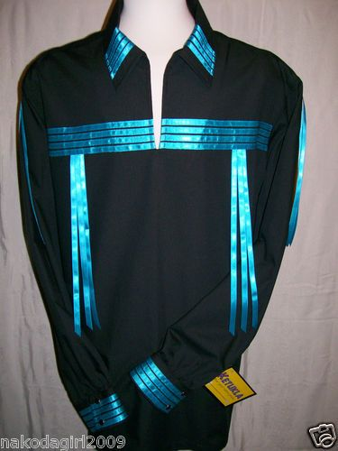 Native American Indian Regalia Traditional Black Turquoise Ribbon Shirt 3X | eBay